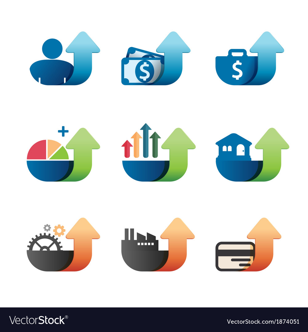 Arrow Graph chart Business concept Icons set vector image