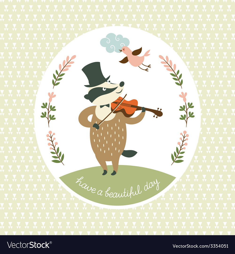 Badger plays the violin vector image