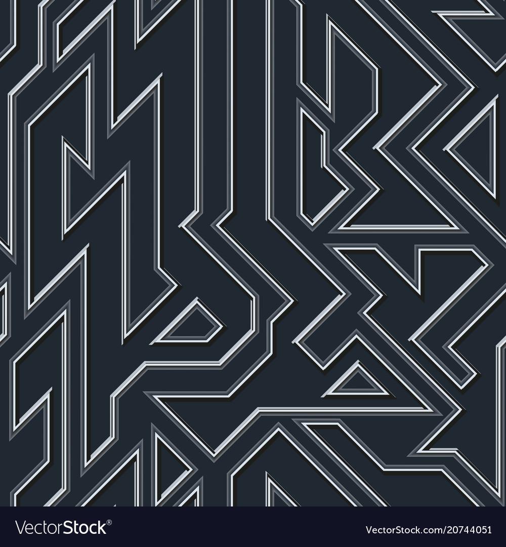 Chrome geometric seamless pattern vector image