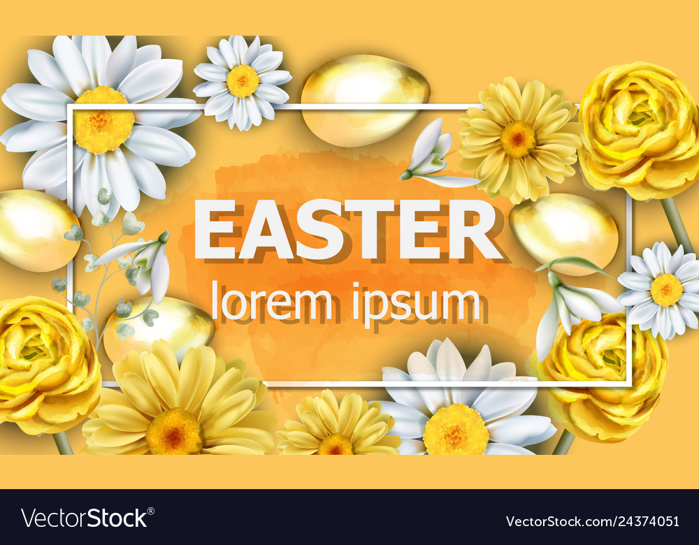 Easter card golden eggs and chamomile flowers