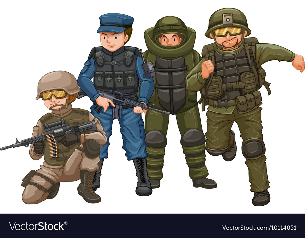 Group of soldiers with weapons
