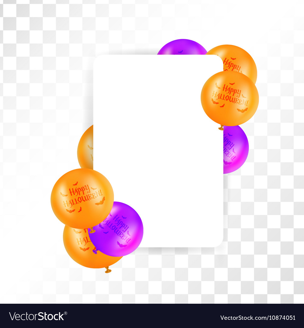 Hallooween frame with balloons on transparent vector image