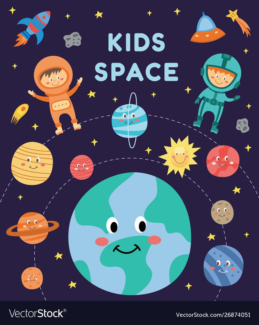 Kids in space - cute cartoon astronaut children in