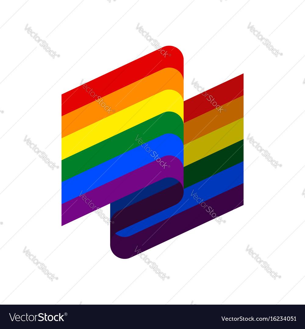 Lgbt flag ribbon isolated rainbow tape banner