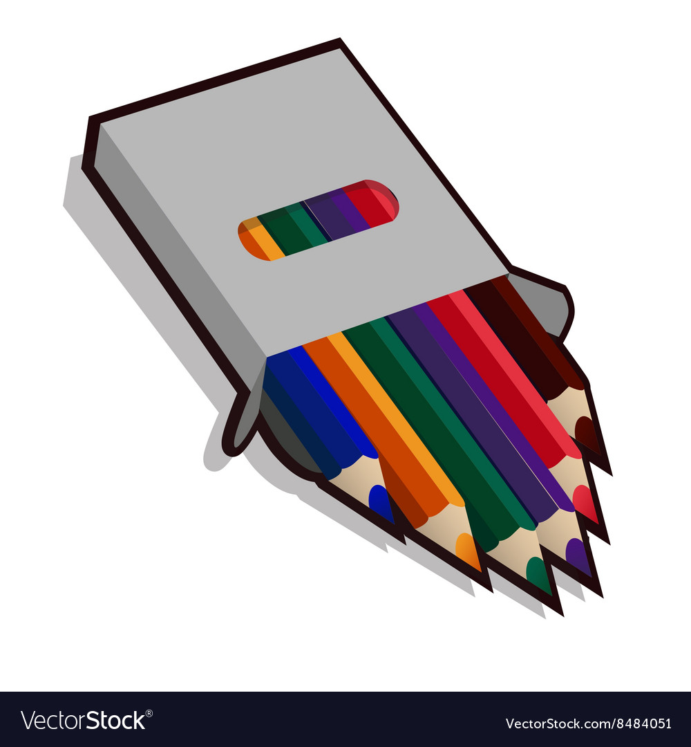 Pencil case with colored pencils for drawing vector