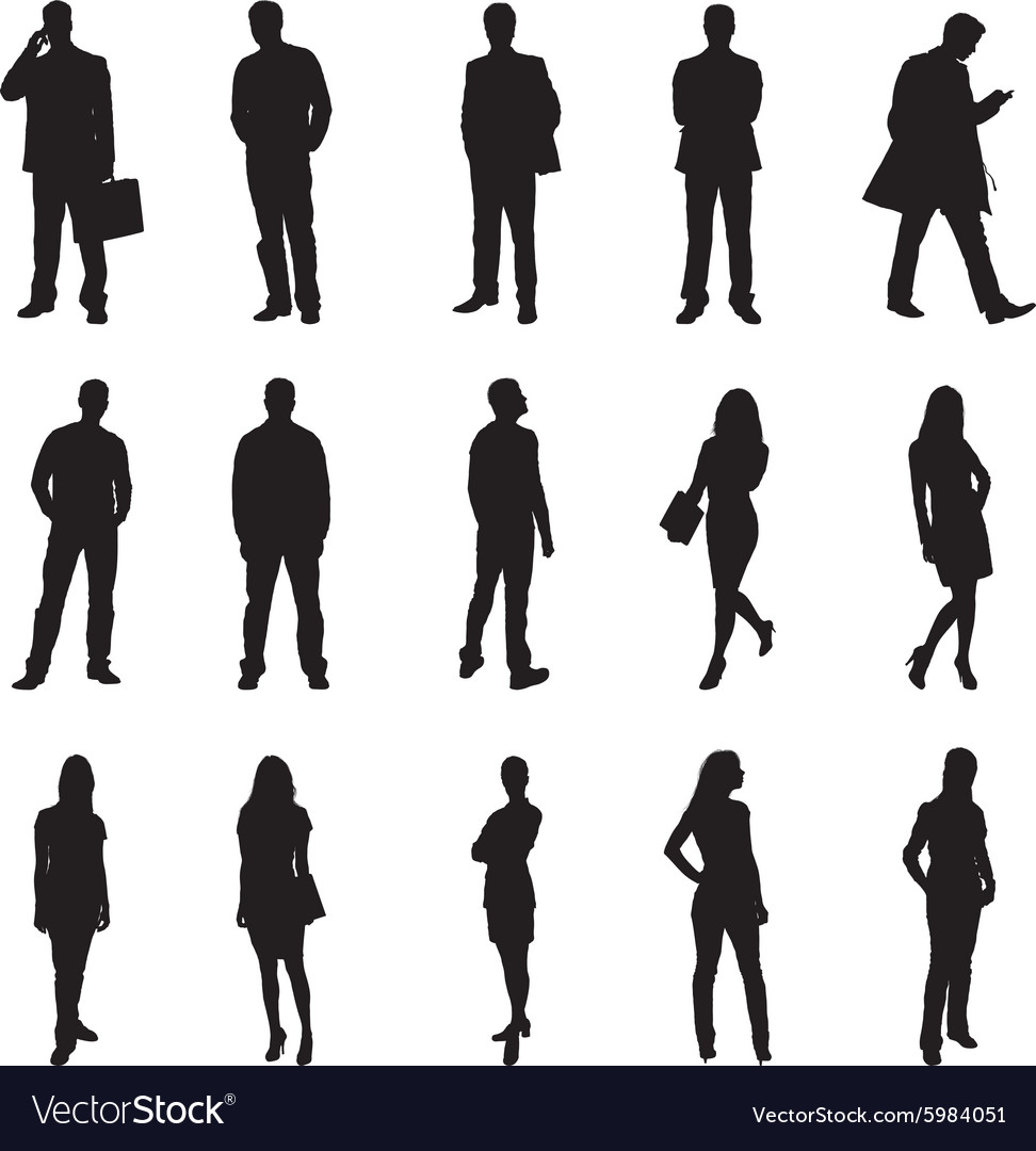 People Standing Black Silhouette