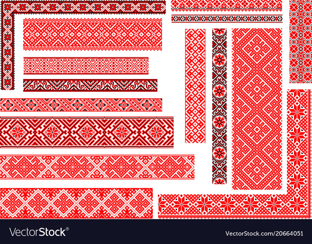 Set of 15 seamless ethnic patterns for embroidery