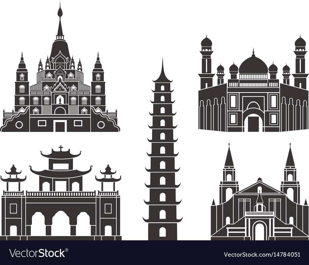 Southeast asia isolated asian buildings on