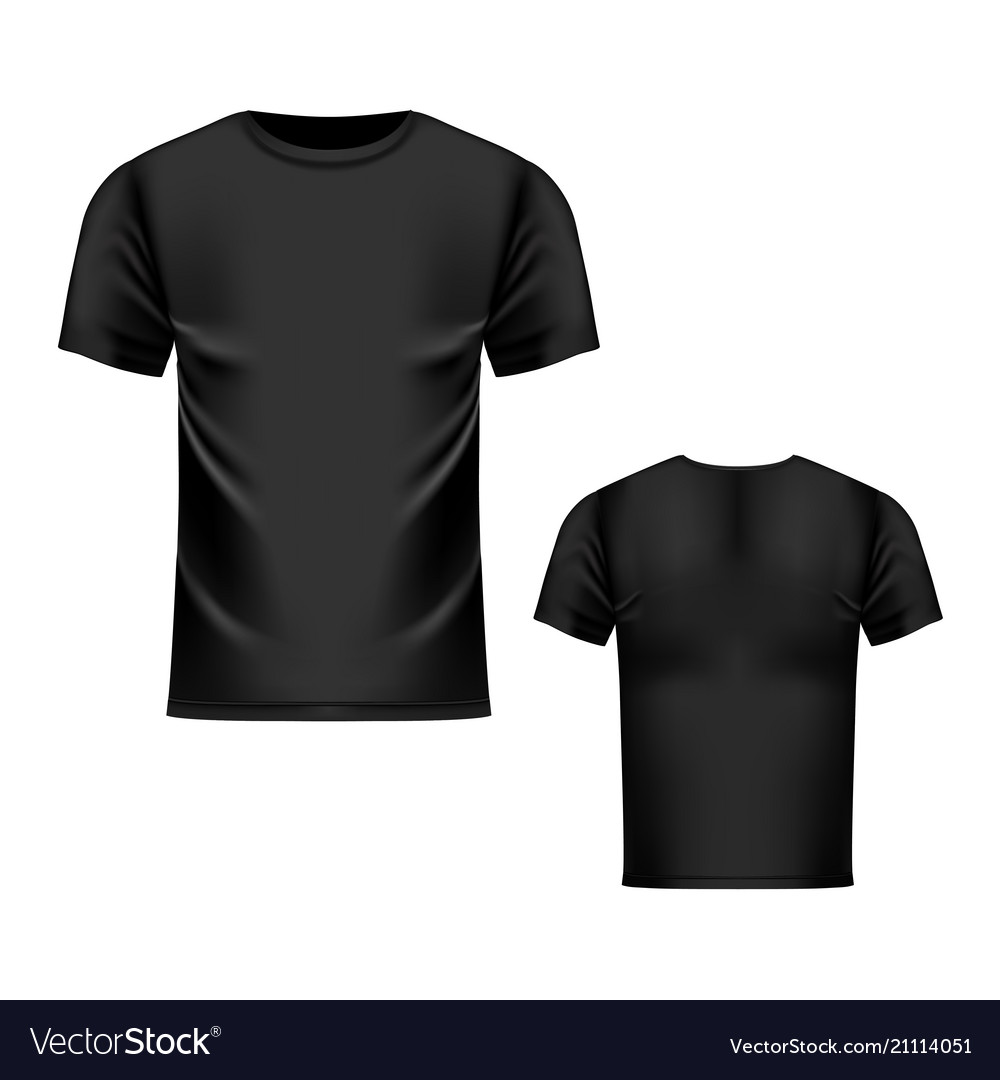 T shirt black template front and back view vector image maxwellsz
