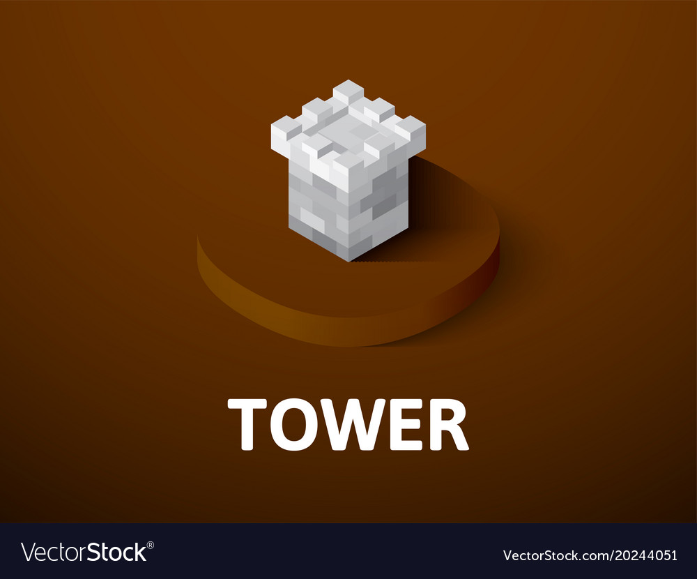 Tower isometric icon isolated on color background