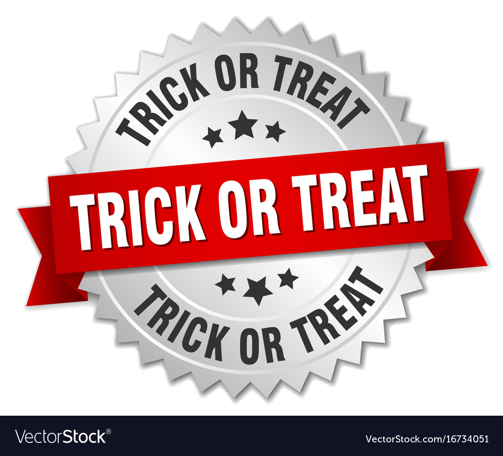 Trick or treat round isolated silver badge vector image