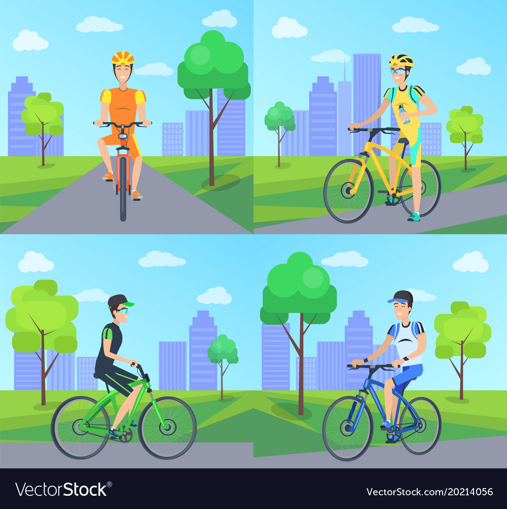 Cyclists with smile riding vector image
