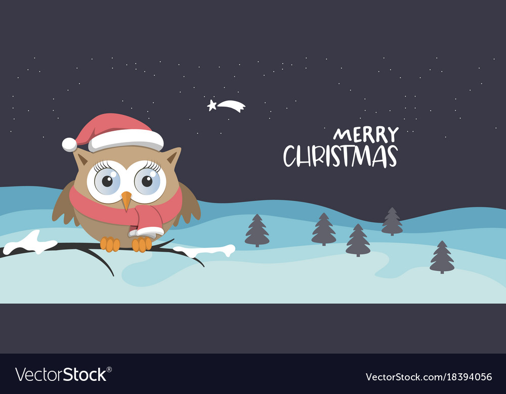 Female owl with santa claus hat on a branch in a