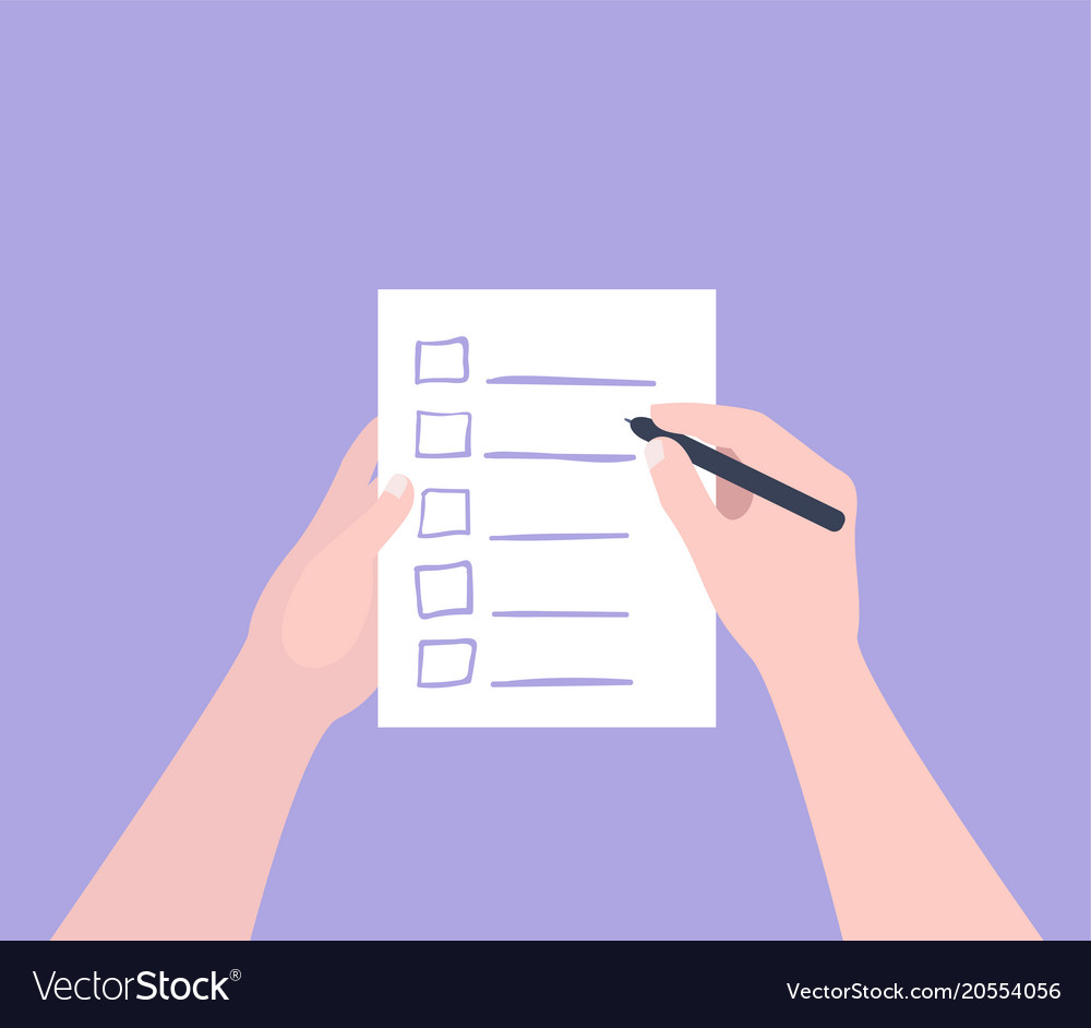 hand holding filling form checklist to do list vector image