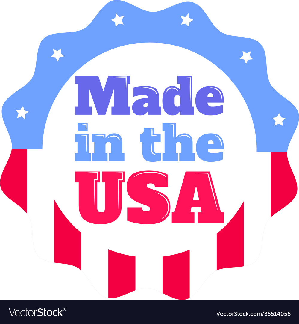 Made in usa on white background