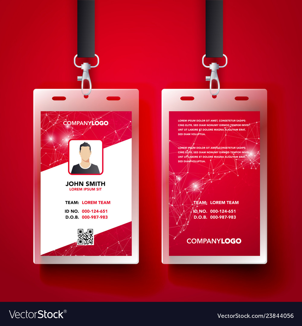 Red corporate id card design template set