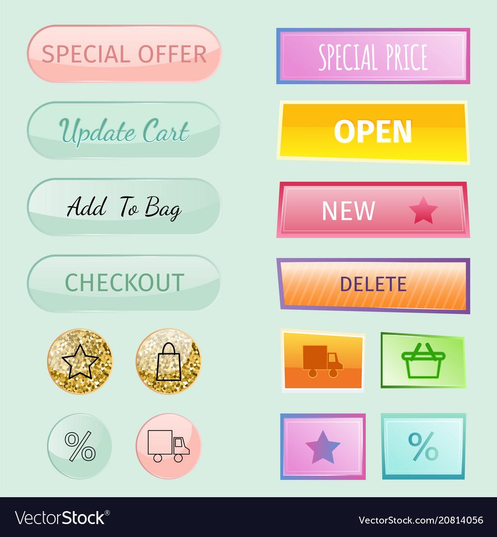 Web elements shop buttons buy element cart