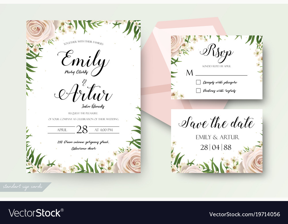 Wedding floral cards templates set with flowers
