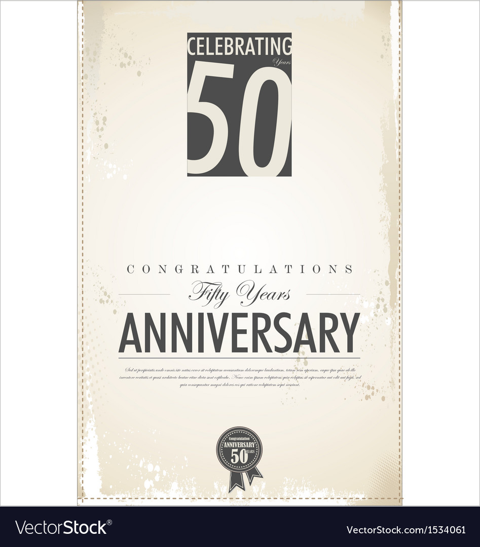 50 years anniversary retro background