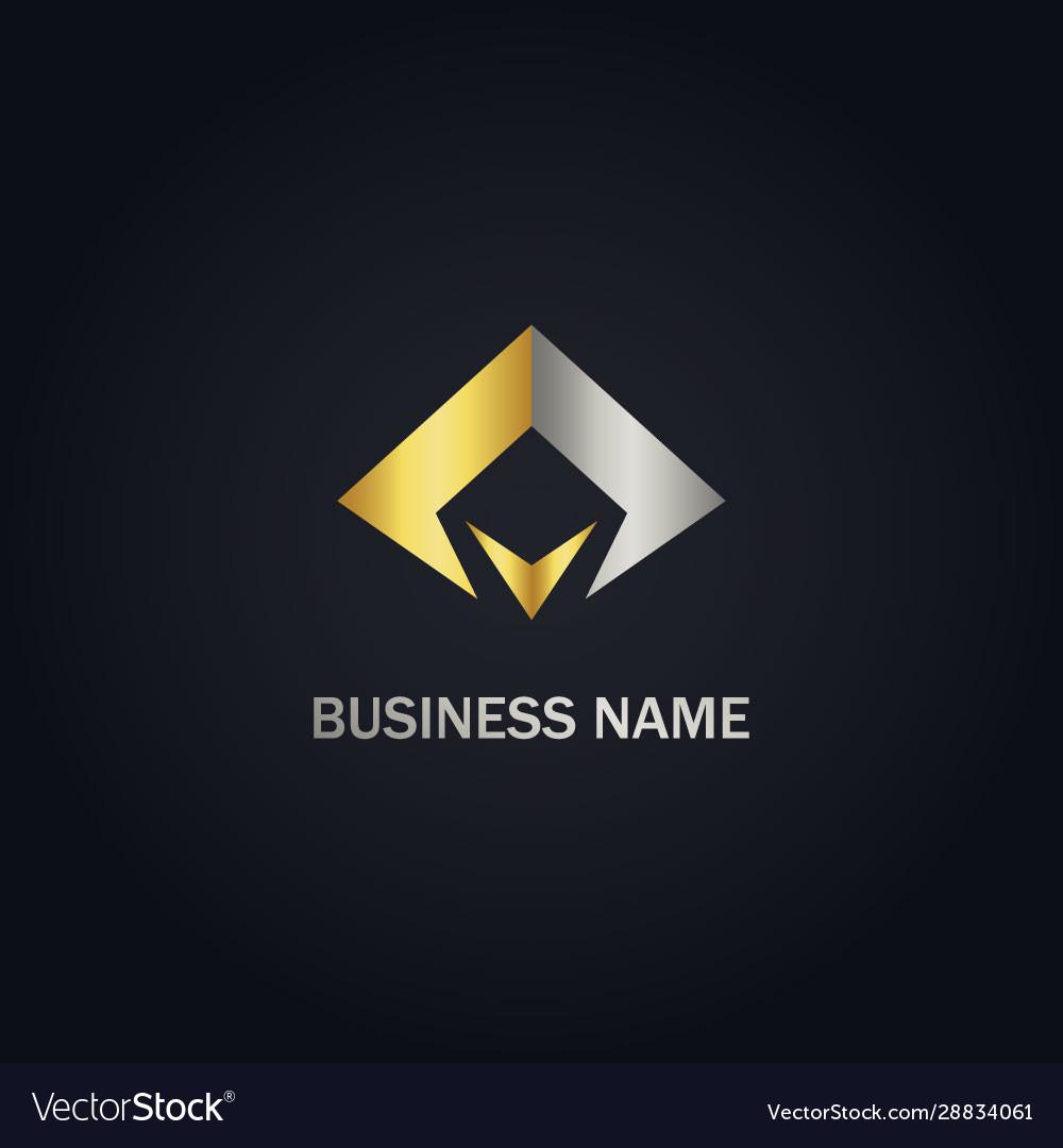 Abstract triangle company gold logo
