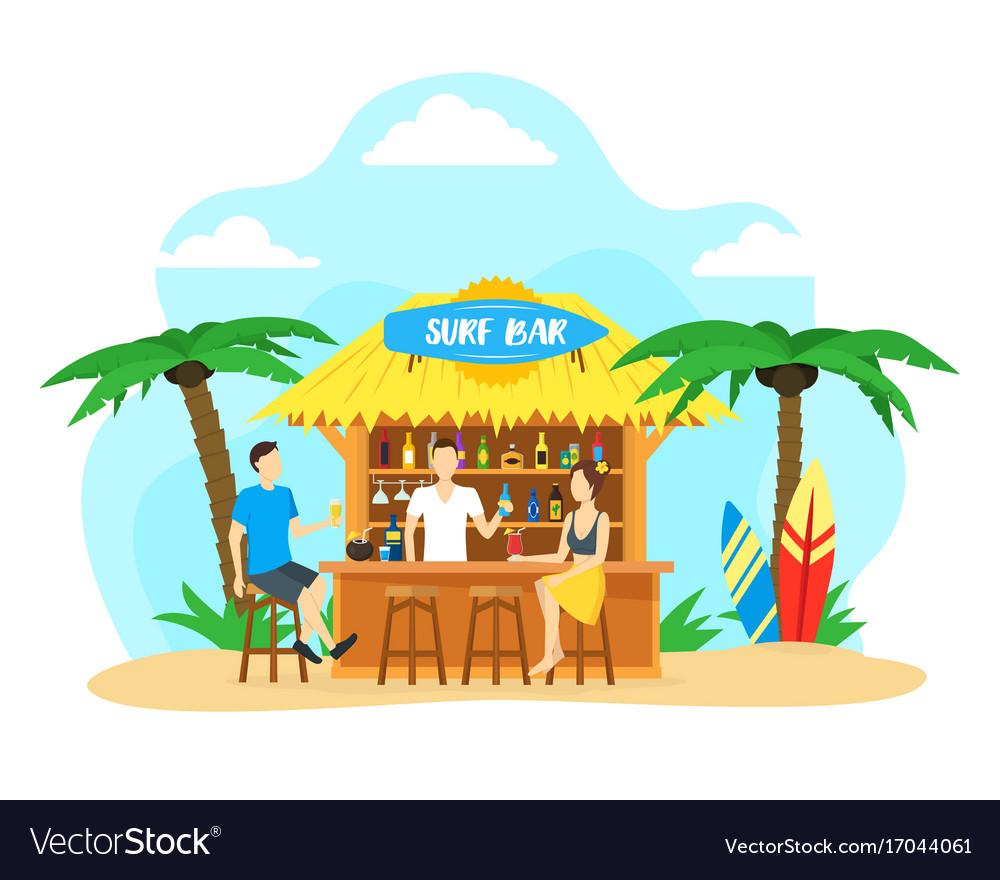 Cartoon surf beach bar summer vacation travel