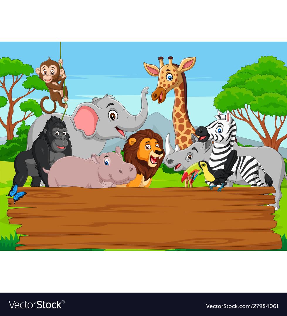 Cartoon wild animal with blank board in jungle