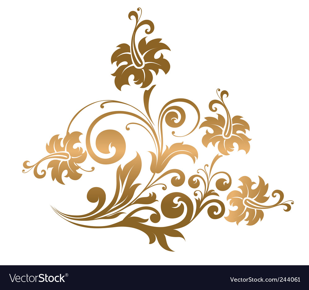 gold floral ornament royalty free vector image