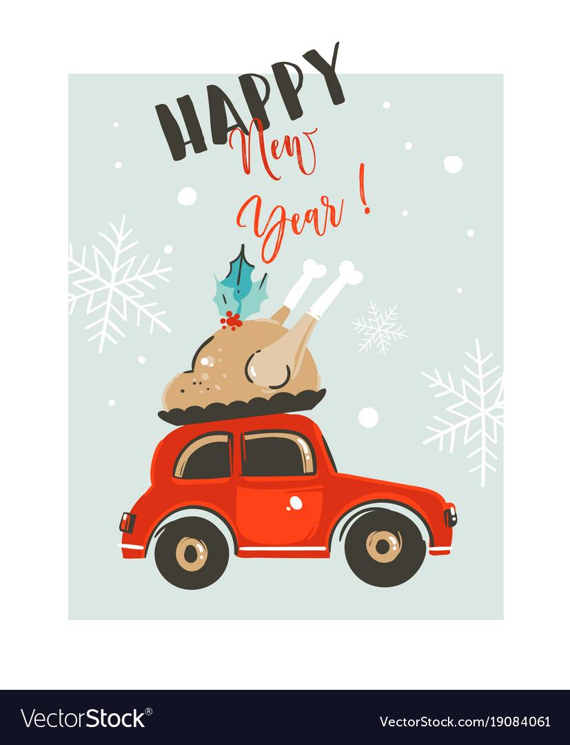 Hand drawn merry christmas time cartoon vector image