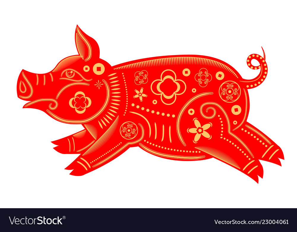 Happy chinese new year 2019 zodiac sign of red pig