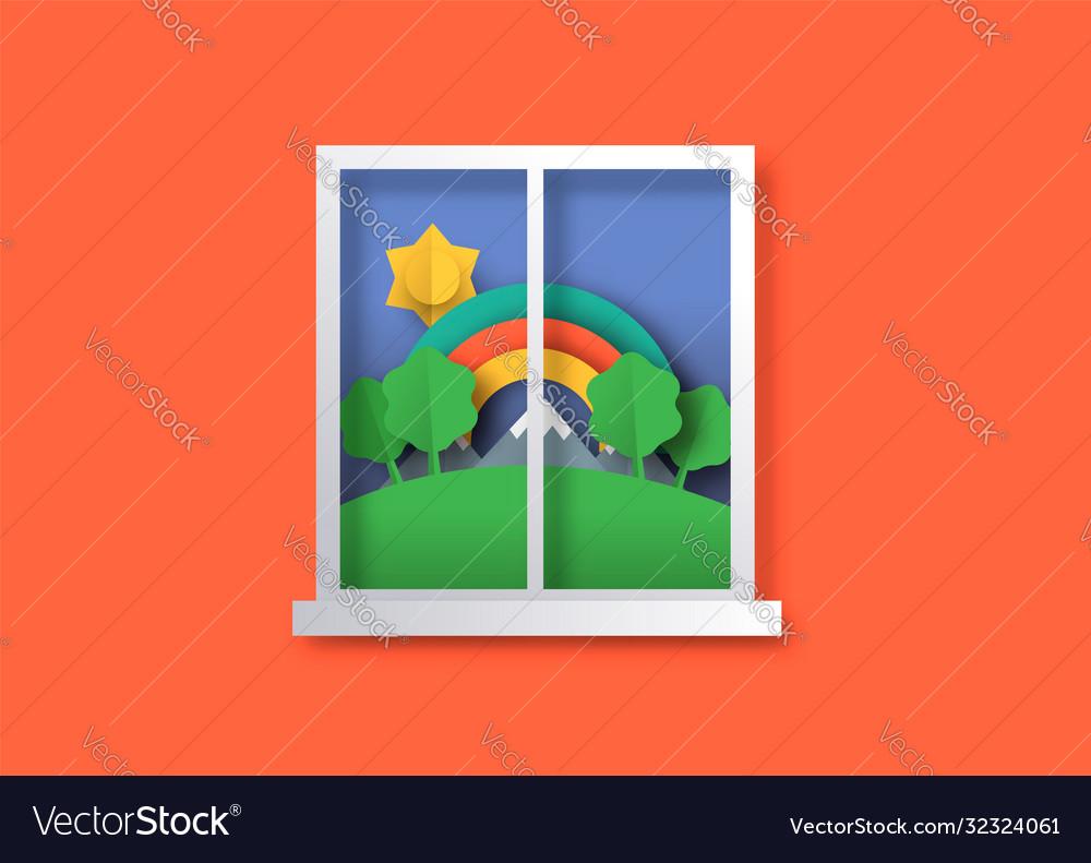 Outdoor nature window view in 3d papercut art