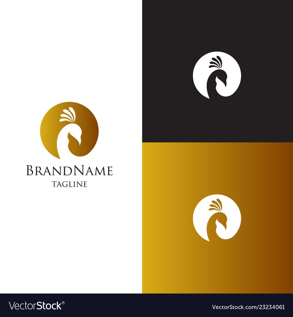 Peacock logo template luxury elegant feminine