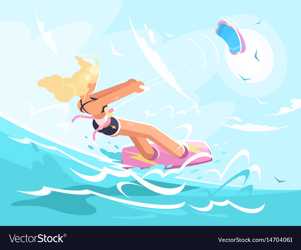 Sport girl on kite surfing vector image