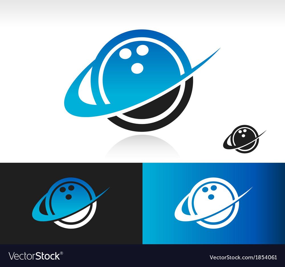 Swoosh Bowling Ball Logo Icon vector image