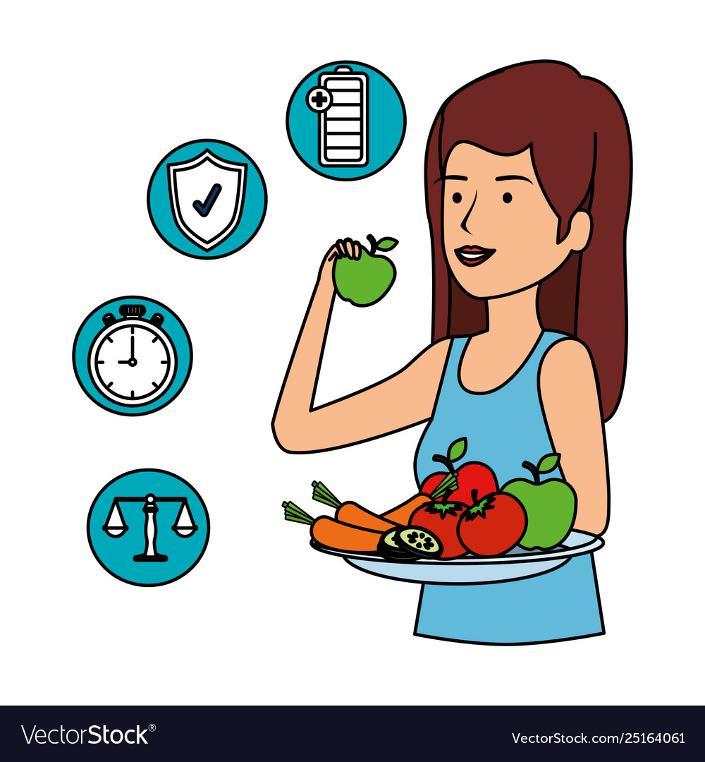 Woman Eating Healthy Food And Set Icons Royalty Free Vector