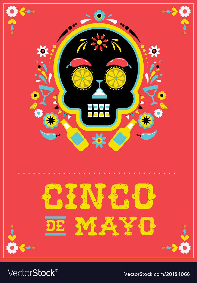 Cinco de mayo greeting card vector image