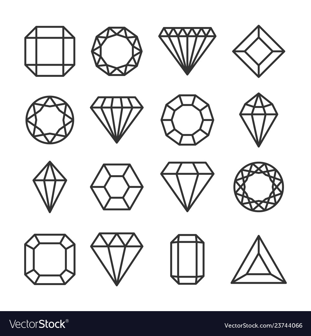 Diamonds or brilliants cute line icons set