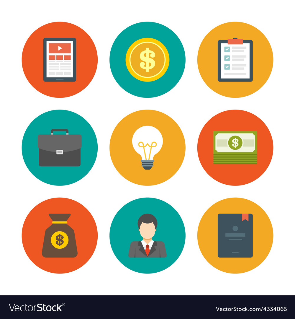 Flat Design Icons Symbols For Website Royalty Free Vector