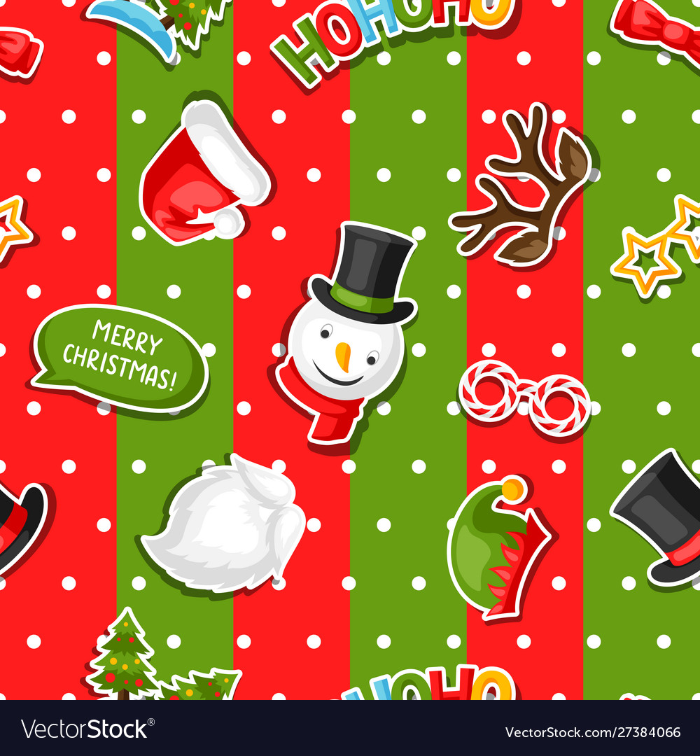 Merry christmas seamless pattern with photo booth