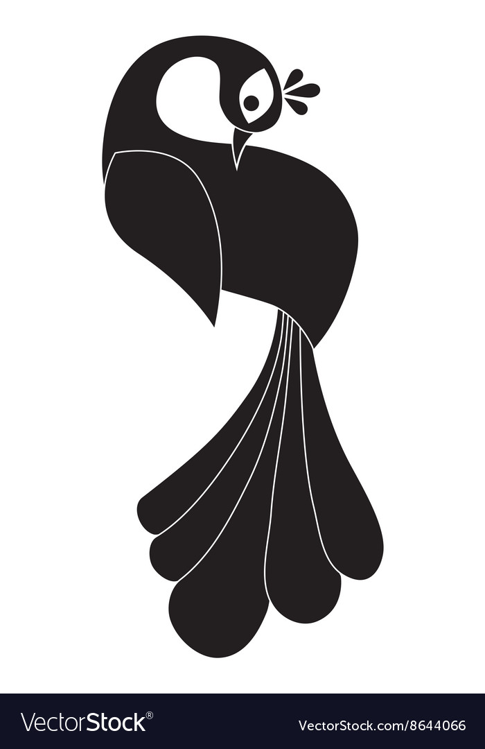 Peacock silhouette Isolated