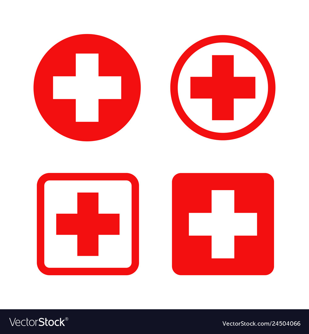 Red cross symbol round and square style