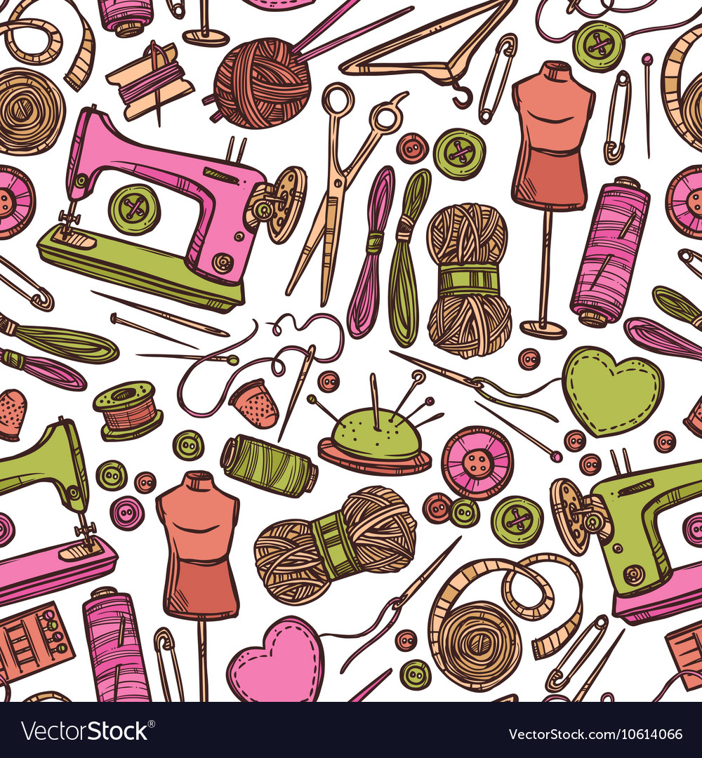 Seamless Color Pattern With Accessories For Sewing