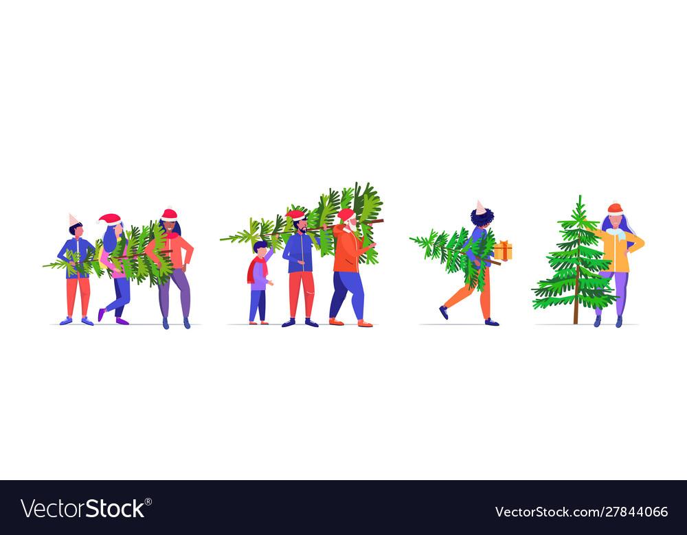 Set people carrying freshly cut down christmas