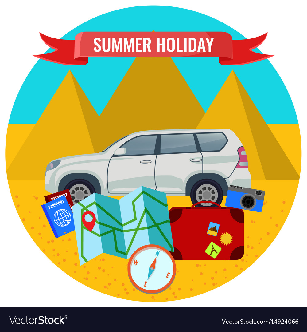 Summer holiday poster with travelling car road