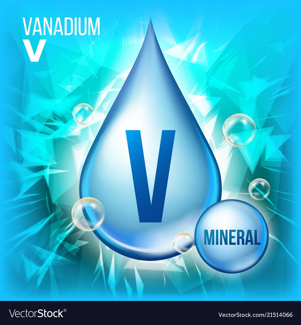 V vanadium mineral blue drop icon vitamin