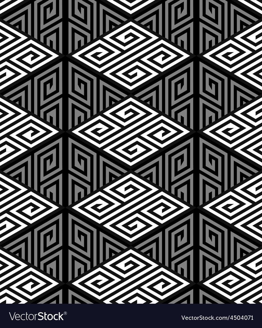 3D Zig Zag Cube Holes Op Art Seamless Pattern
