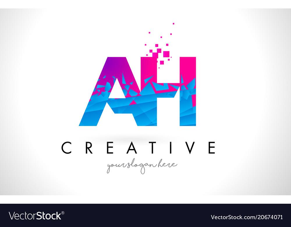 Ah a h letter logo with shattered broken blue