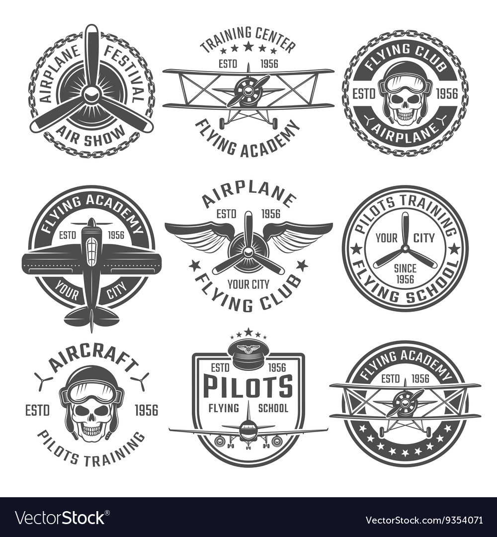 Airplane emblem set