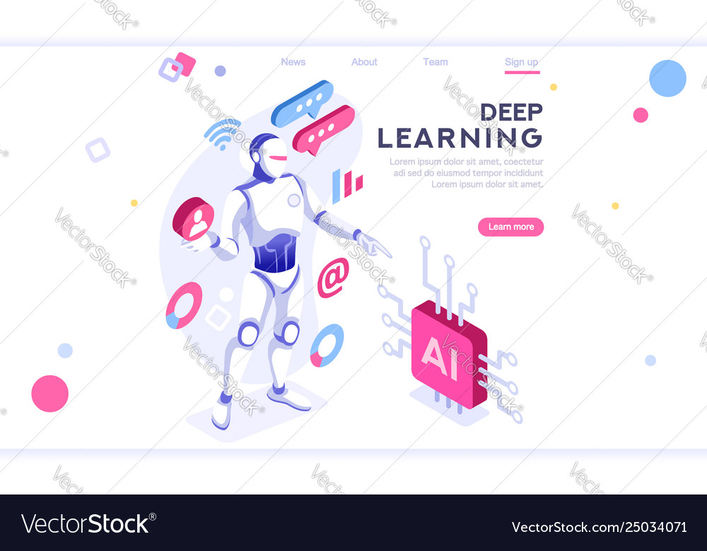 Artificial intelligence banner isometric