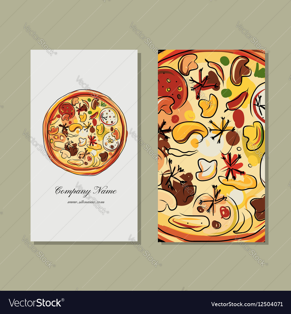 Business card design with pizza sketch Royalty Free Vector