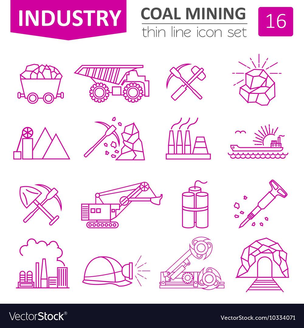 Coal mining icon set Thin line icon design